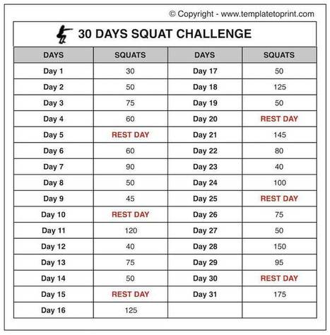 picture about 30 Day Squat Challenge Printable identified as 30 Squat Issue Printable Calendar Chart