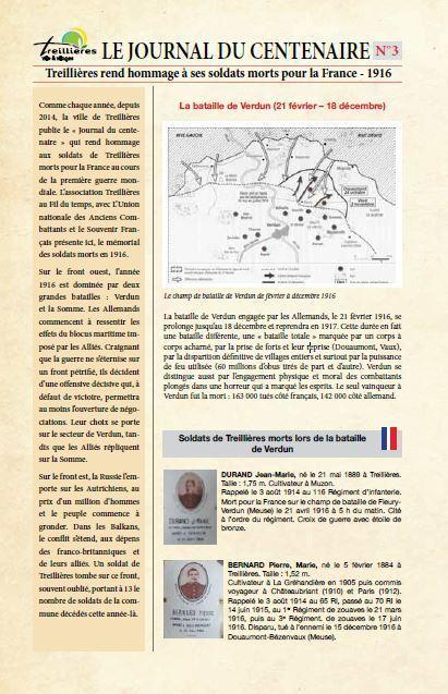 Hommage aux soldats treilliérains morts en 1916 - [Association Treillières au Fil du temps].   Histoire 2 guerres   Scoop.it