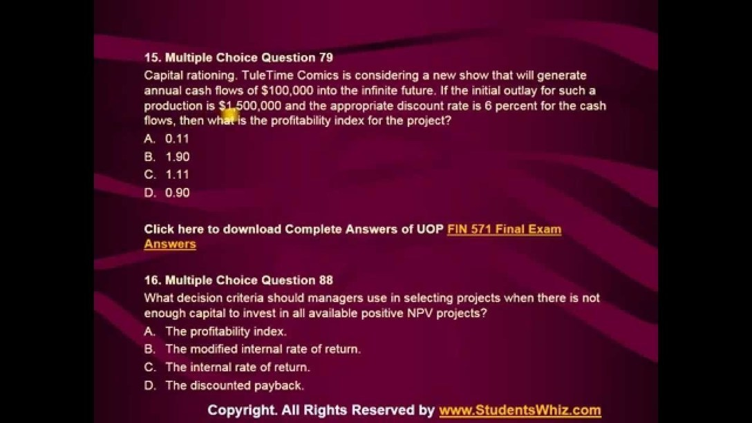 fin 486 final examination Start studying fin 486 final exam learn vocabulary, terms, and more with flashcards, games, and other study tools.