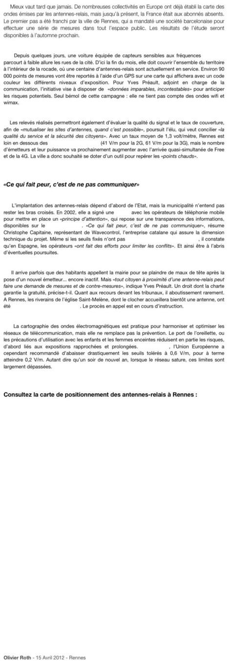 Rennes, première ville en France à cartographier ses ondes électromagnétiques | Geomatic | Scoop.it
