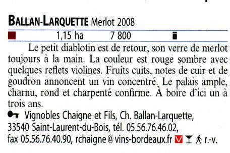 Guide Hachette 2010 Ballan-Larquette Vdp Atlantique Merlot 2008 | Nombrilisme | Scoop.it