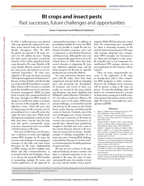 Bt crops and insect pests: Past successes, future challenges and opportunities - Gassmann & Hutchison (2012) - GM Crops & Food: | plant cell genetics | Scoop.it