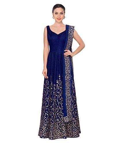bb7b42ad68 Aarna Fashion Women  s Cotton Silk Anarkali Salwar Suit Set (Gorgeous  Z Blue Free Size