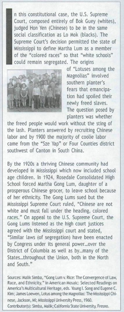 Gong Lum v. Rice 1927 Mississippi School Segregation and the Delta Chinese | Chinese American history | Scoop.it
