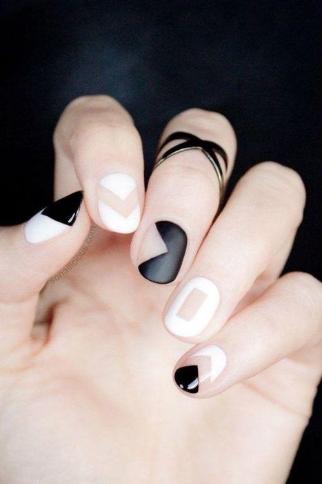 Black And White Geometric Nail Designs