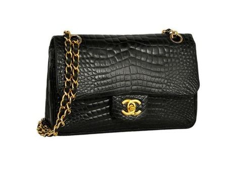 fee91f1b6ecc Chanel Black Vintage Crocodile Bag