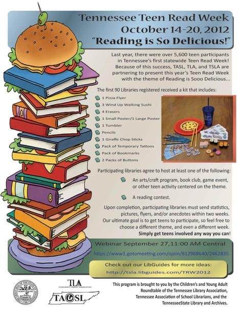 "Tennessee Teen Read Week ""Reading IS Soooo Delicious"" Webinar 