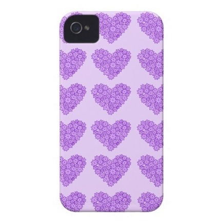 Purple Hearts with flowers iPhone 4/4S Case Case-Mate iPhone 4 Case from Zazzle.com | Cute floral iPhone Cases | Scoop.it