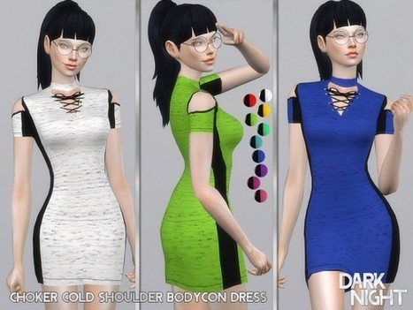 a9aa0863bd The Sims Resource  Choker Cold Shoulder Bodycon Dress by DarkNighTt