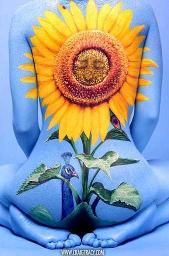 Sun Flower with Hidden Peacock full body painting | EROTIC ART & PHOTOGRAPHY | Scoop.it