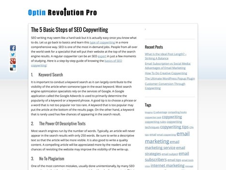 The 5 Basic Steps of SEO Copywriting - Optin Revolution Pro - The Latest News For Writers | SEO and Social Media Updates | Scoop.it