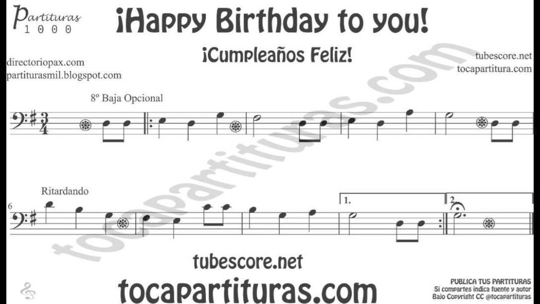 Notas feliz cumpleanos flauta melodica