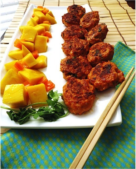Soni's Food for Thought: Red Curry Chicken Kebabs with Thai Mango Salad | Food for Foodies | Scoop.it
