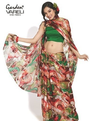 Hypnotic Artistry Brasso Waves Printed Saree Online In India Garden Silk Mills Limited