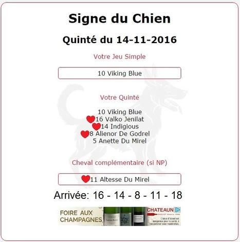 1 514.47€ pour les astroquinté et précisément pour l'année du Chien au Tiercé-Quarté-Quinté+ du 14/11. | Pariez avec ASTROQUINTE | Scoop.it