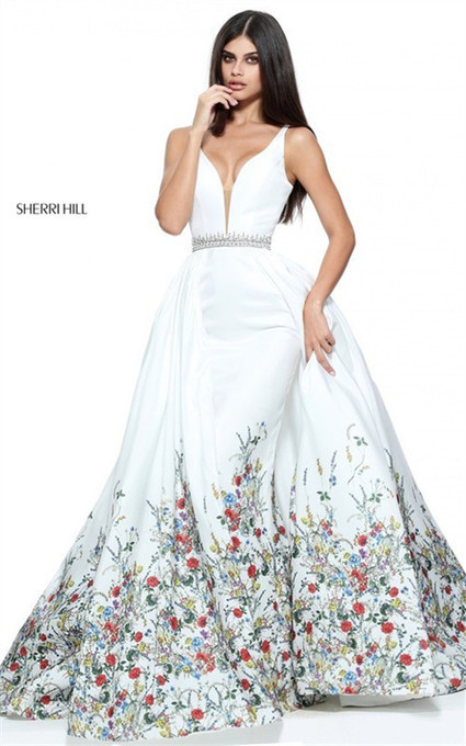 8aa0d6c8791 Floral Ivory Plunging Beaded 2017 Print Ball Gown From Sherri Hill 51232   Ivory Sherri Hill 51232  -  270.00   2016 New Style Dresses For Prom