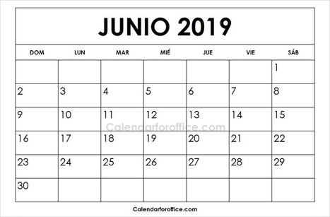 Calendario Mensual 2019 Para Imprimir.June 2019 Calendar Spanish Calendario 2019 Me