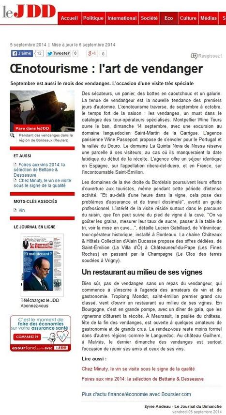 Presse : Les escapades vendanges de Wine Passport sont sur le Journal du Dimanche - Wine Passport | Route des vins | Scoop.it