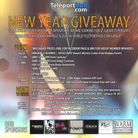TeleportHub.com's New Year Giveaway | Teleport Hub - Second Life Freebies | Second Life Freebies | Scoop.it