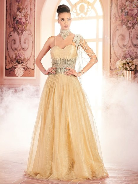 68e32fbee7 Khwaab Cream and Gold Criss-Cross Backless Evening Gown_SKU: 030/01/17