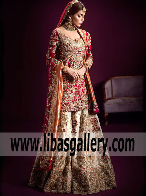 d104ded339 Pakistani Designer Bridal Dress Ammara Khan Classy Bridal Dresses Pakistani  Bridal Sharara Dresses for Brides Bellerose New York NY US