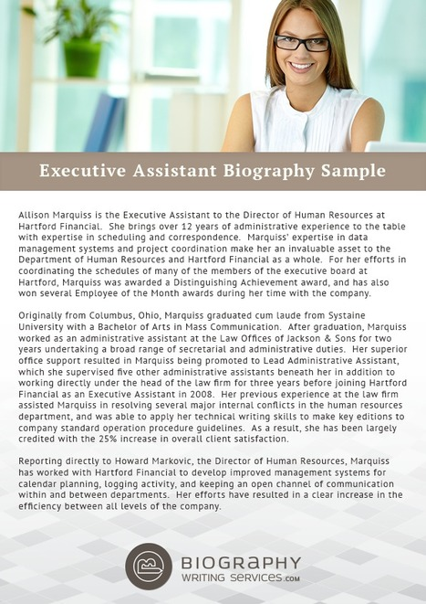 executive assistant biography sample best biography samples scoopit