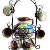 Raised Talavera Pitcher with Mugs on stand