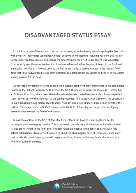 English Essay Speech Disadvantaged Status Essay Examples  Dental School Personal Statement  Samples  Scoopit Apa Style Essay Paper also Sample Of An Essay Paper Pediatric Dentistry Personal Statement Sample  How To Write An Essay Proposal Example
