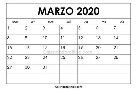 Calendario 2020 Marzo Abril.Calendario 2020 Marzo Para Imprimir Calendari