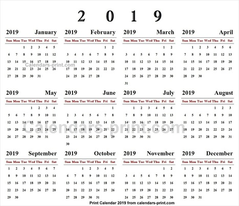 Online Calendar 2019 Printable Template With No