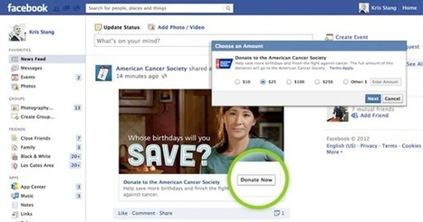 """Facebook lance le bouton """"Donate"""" (Faire un Don) pour certaines œuvres et grandes causes.   toute l'info sur Facebook   Scoop.it"""