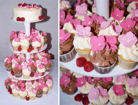 Cupcake-Hochzeitstorte mit Zuckerblüten  ...