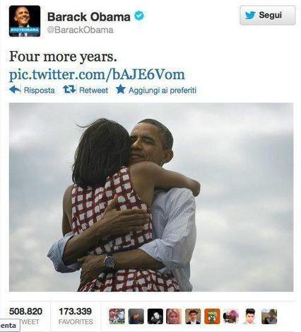 Obama vince e il tweet più popolare di tutti i tempi | Twitter addicted | Scoop.it