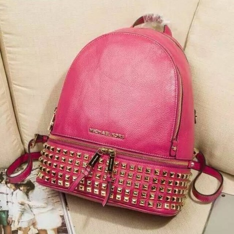 8444b1e4454d MICHAEL Michael Kors Small Rhea Zip Soft Venus Leather Studded Backpack Rose
