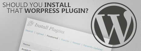 6 Questions To Ask Before You Install A WordPress Plugin | Wordpress | Web-building | Scoop.it