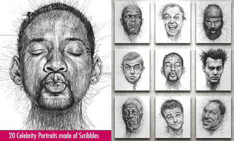 20 Awesome Celebrity Portraits made of Scribbles by Vince Low | Art Works | Scoop.it
