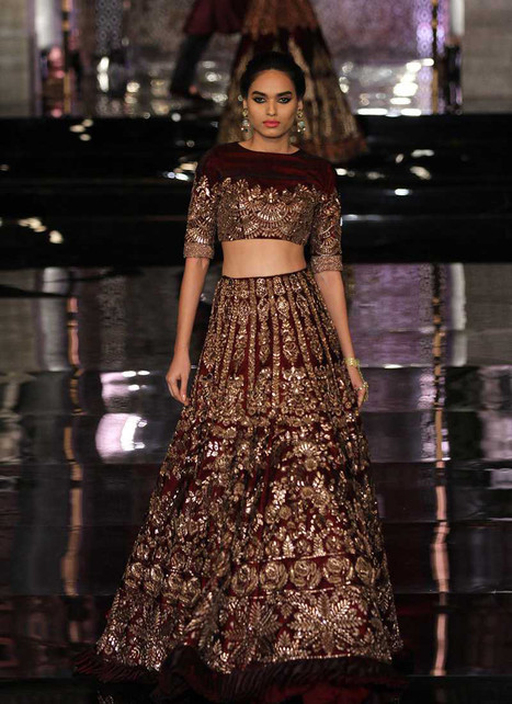 Delightful Velvet Maroon Round Neck Lehenga Choli with Zardosi Work | I don't do fashion, I am fashion | Scoop.it