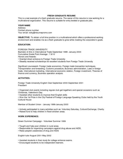 fresh graduate first job resume samples