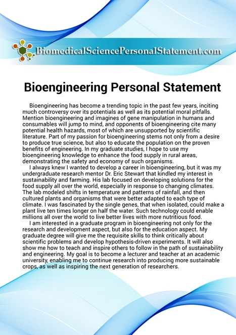 bioengineering personal statement sample