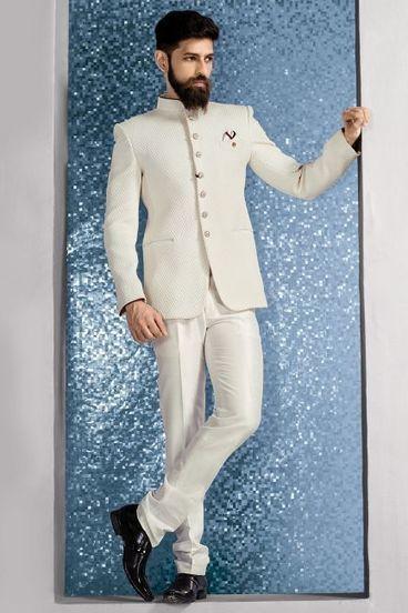 9235a377db White Jute Embossed Jodhpuri Suit-ST577   Samyakk Online Store   Scoop.it