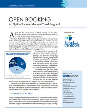 Open Booking: An Option For Your Managed Travel Program?   White Papers   Scoop.it