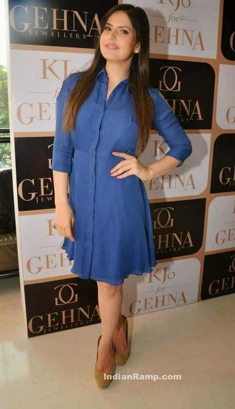 5bd070c1859 Zarine Khan in Blue Short Skirt for promotion of Gehna Jewellers Hate Story  3 Pics