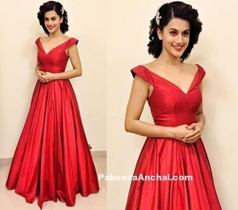 Tapsee Pannu in Red Silk Gown by Zara Umrigar, #ActressInGowns, #ActressInRedDresses, #BollywoodActress, #BollywoodDesignerDresses, #CelebrityDresses, #DesignerWear, #Gowns, #IndianFashionDesigners... | Indian Fashion Updates | Scoop.it