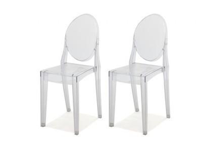 Lot 2 Chaises Transparentes Acrylique CRISTAL