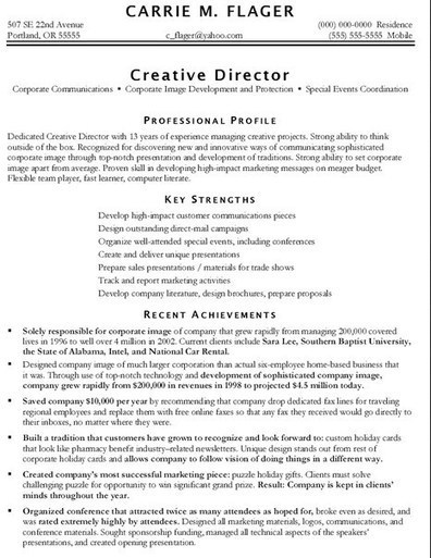 Best Marketing Resume Examples | Job Resume Sam...