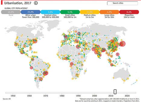 Carto interactive : urbanisation et croissance des mégapoles - The Economist | Des liens en Hist-Géo | Scoop.it