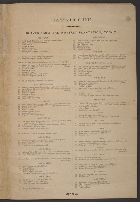 A Detailed Brochure for an 1855 Slave Auction Shows How People Were Sold as Property  | Social Media Slant 4 Good | Scoop.it