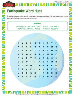 Worksheets Earthquakes For Kids Worksheets collection of earthquake worksheets for kids sharebrowse word hunt sixth grade scienc
