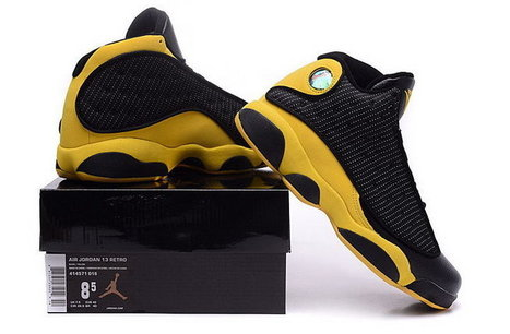 1c7b9cfc6a7d4d Men Nike Air Jordan 13 Black Yellow Leather Sneaker