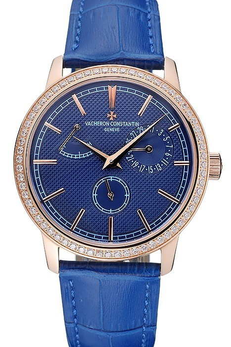 b9bd3f4801e Vacheron Constantin Power Reserve Blue Dial Gold Diamond Case Blue Band